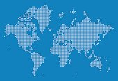 A detailed world map illustration made up of dots. This file is an ideal design element for your project. It's easy to colour and customise if required and can be scaled to any size without loss of quality.