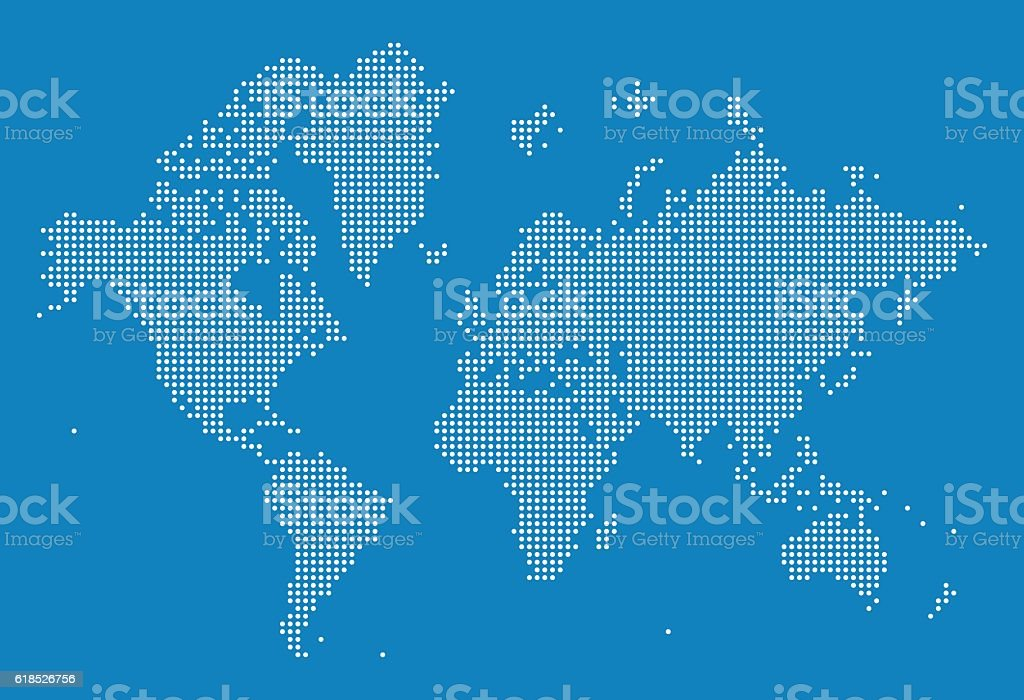 World Map of Dots vector art illustration