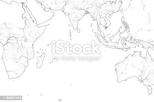 istock World Map of INDIAN OCEAN: Erythraean Sea, Arabian Sea, Bengal Bay, Sri-Lanka, The Maldives, The Seychelles, Ceylon, India, Africa, Australia, Indonesia, Madagascar. Geographic chart with coastline. 1166667443