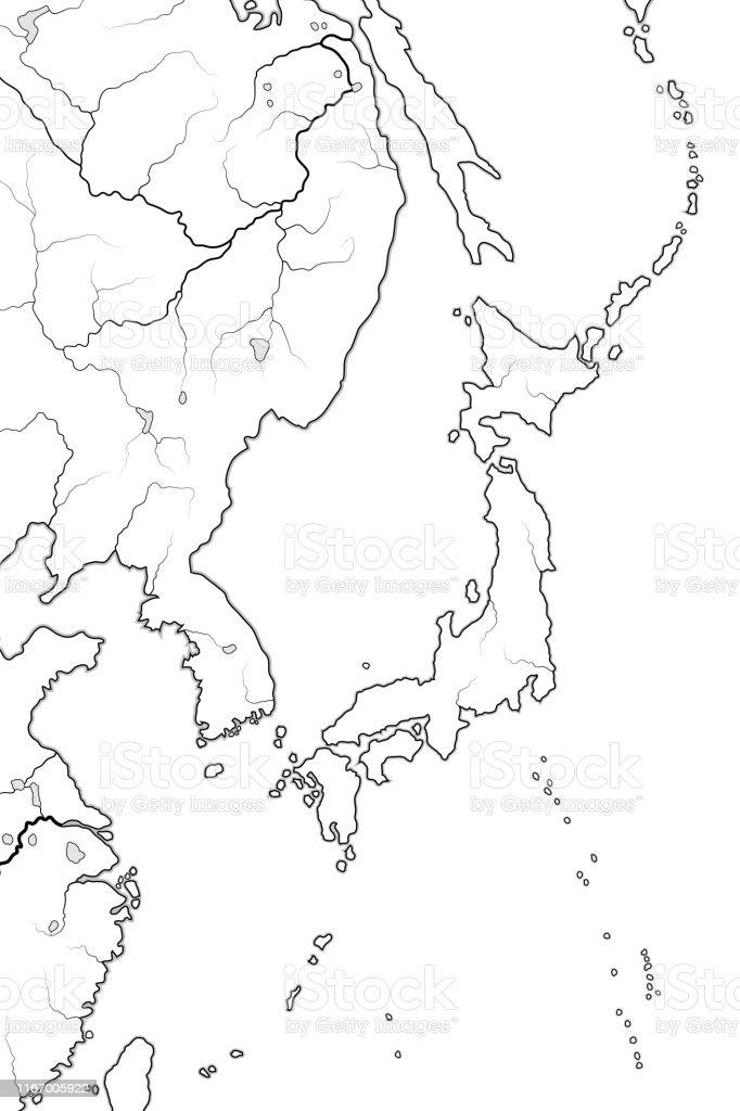 Picture of: World Map Of Japanese Archipelago Land Of The Rising Sun Japan And Its Islands Honshu Hokkaido Kyushu Shikoku And Ryukyu Isles Geographic Chart With Oceanic Line Stock Illustration Download Image Now