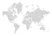 A detailed world map illustration made up of rounded lines and dots, this is an ideal design element for your project. It's easy to colour and customise if required and can be scaled to any size without loss of quality.
