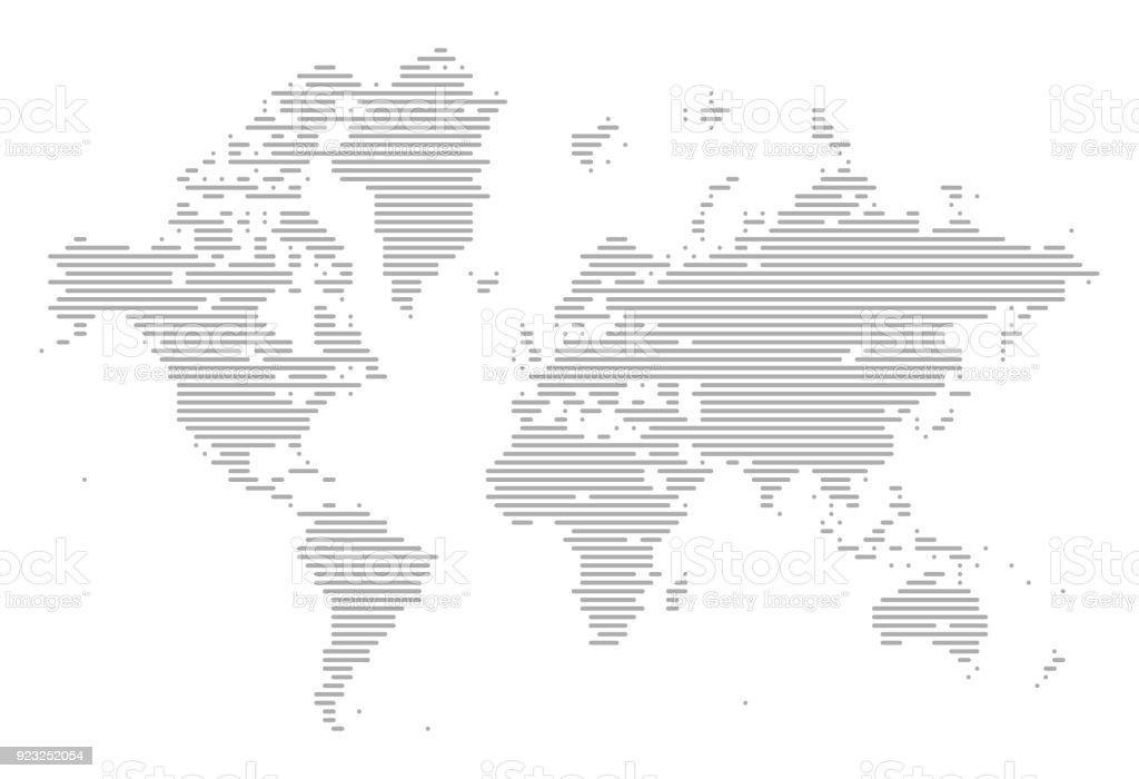World Map of Lines vector art illustration