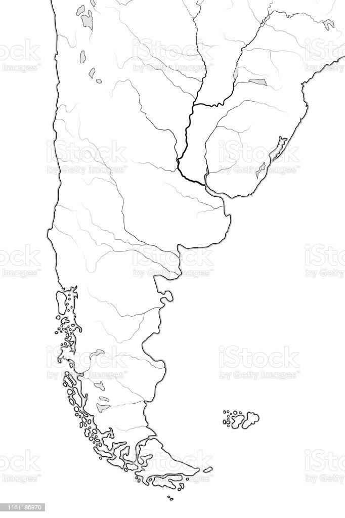 Lateinamerika Karte Gebirge.Weltkarte Von Patagonia In Südamerika Argentinien Chile Paraguay