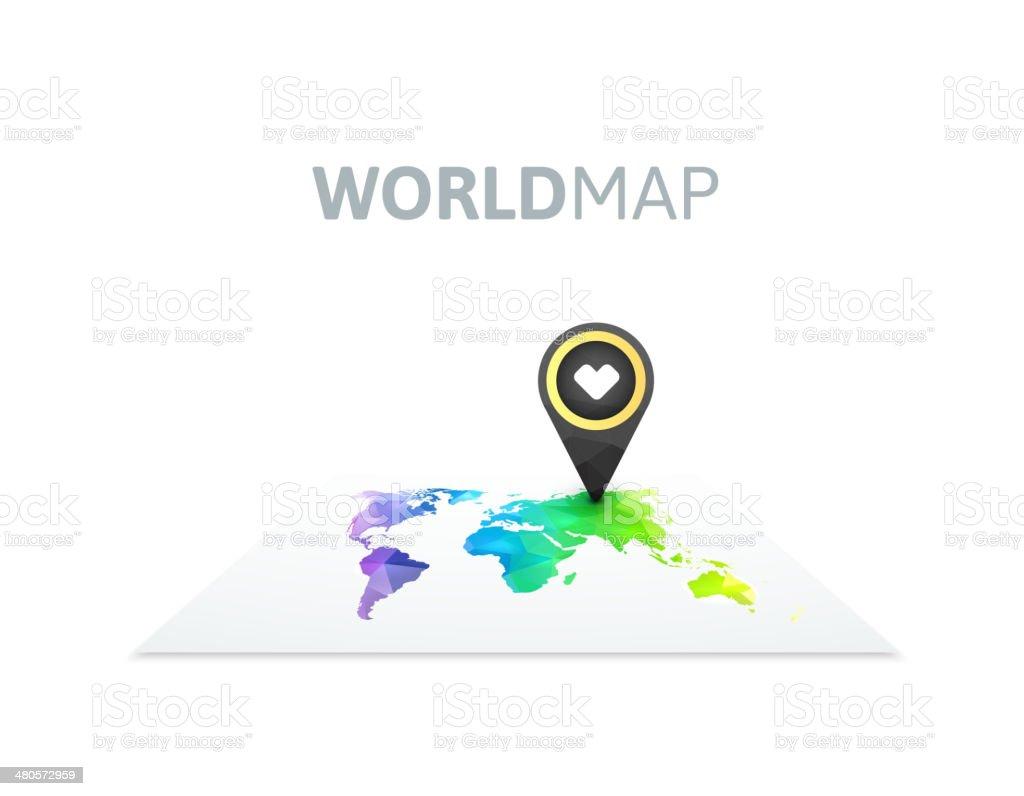 World map of rainbow color vector art illustration