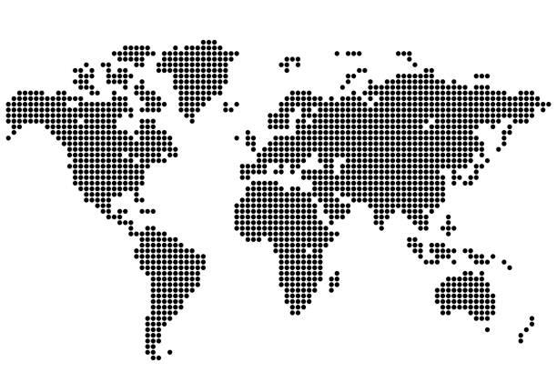 ilustrações de stock, clip art, desenhos animados e ícones de world map of round dots - europe points