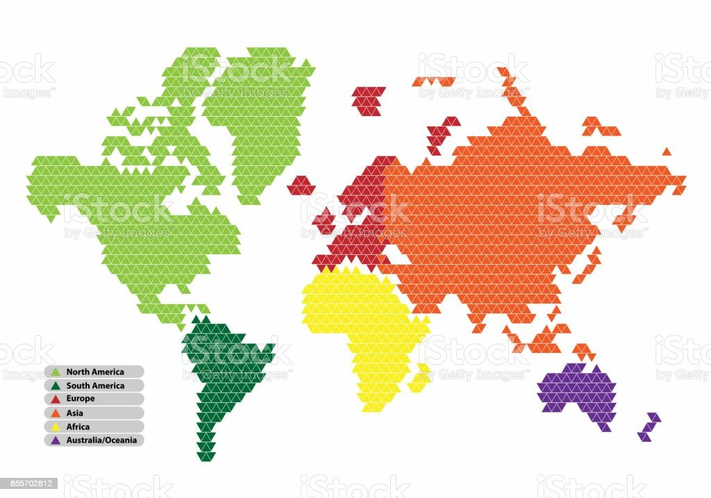 World map of triangle shape with the continent in a different color world map of triangle shape with the continent in a different color on a white background gumiabroncs Choice Image