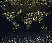 World map of twinkling lights. Background with Gold glitter texture.