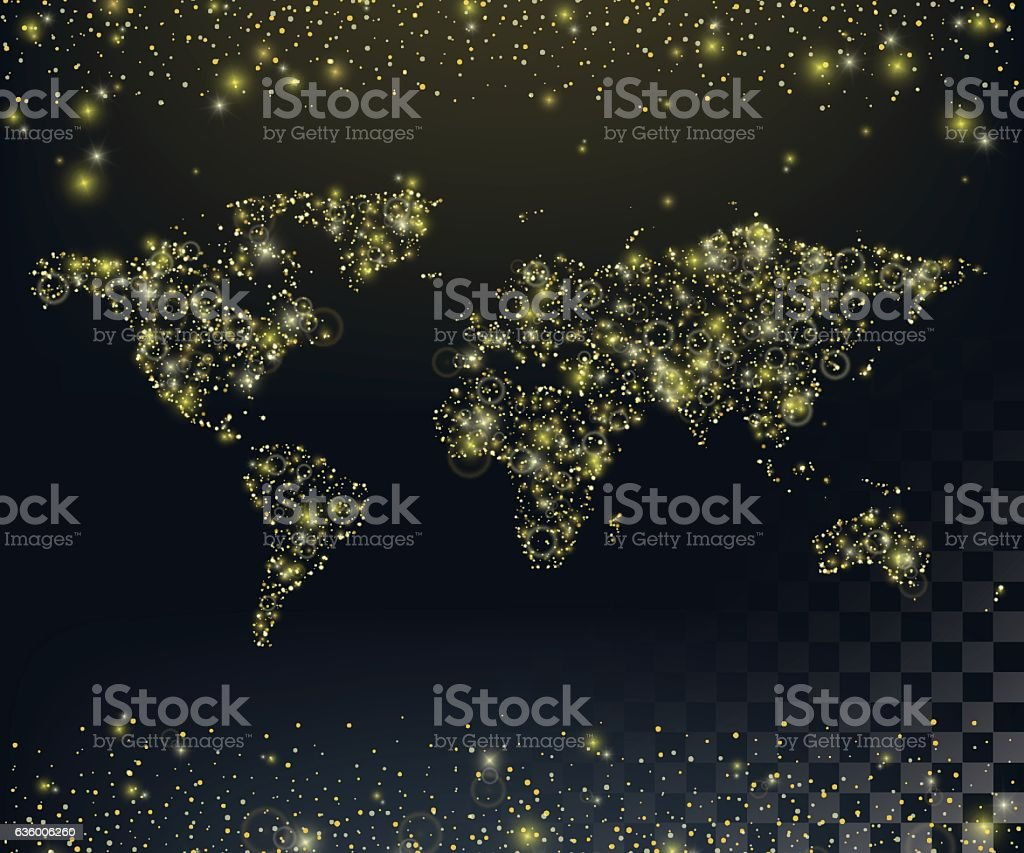 World map of twinkling lights. Background with Gold glitter texture. vector art illustration