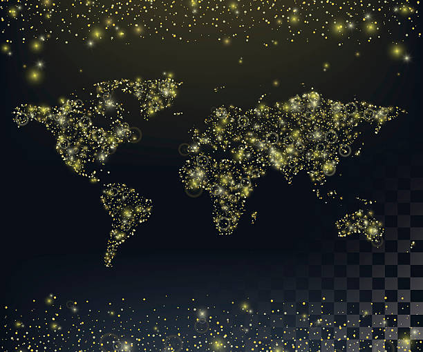 Royalty free world at night clip art vector images illustrations world map of twinkling lights background with gold glitter texture vector art illustration gumiabroncs Image collections