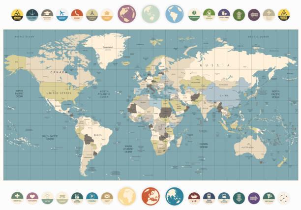 ilustraciones, imágenes clip art, dibujos animados e iconos de stock de mapa del mundo antiguo con colores de ilustración de iconos plana redonda - político