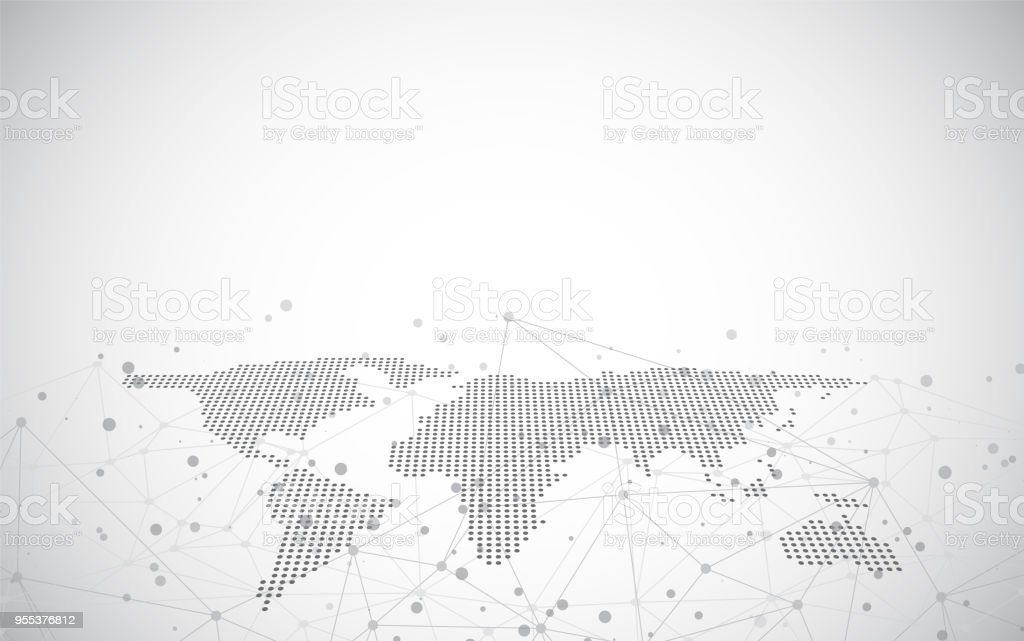 World map on a technological background, glowing lines symbols of the Internet, radio,global business. vector art illustration