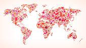 World Map on Autumn Icon Pattern