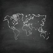 World Map on a blackboard texture with chalk traces.