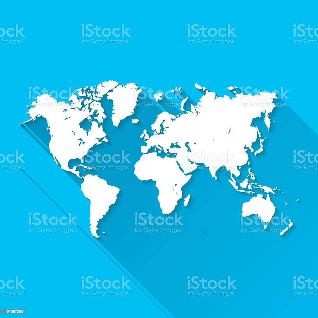 World Map on Blue Background, Long Shadow, Flat Design vector art illustration