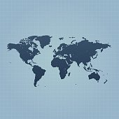 World map on blue background with grid