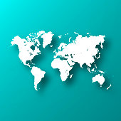 White map of World isolated on a trendy color, a blue green background and with a dropshadow. Vector Illustration (EPS10, well layered and grouped). Easy to edit, manipulate, resize or colorize.