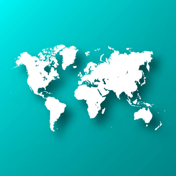World map on Blue Green background with shadow vector art illustration