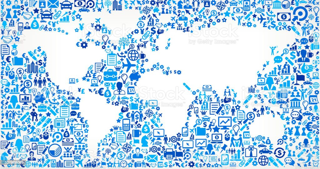 World Map on Business Icon Pattern Background