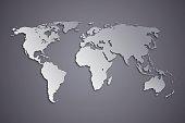 World Map on dark background.