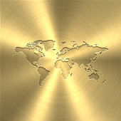 Map of World on a golden background with an embossing effect. Realistic circular brushed metal similar to a gold medal or coin. Vector Illustration (EPS10, well layered and grouped). Easy to edit, manipulate, resize or colorize. Vector and Jpeg file of different sizes.