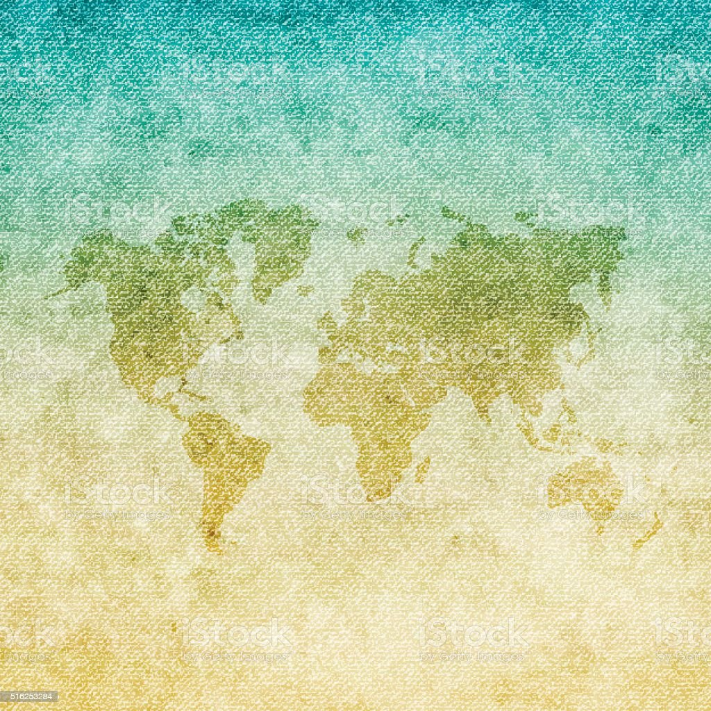 World Map on grunge Canvas Background vector art illustration