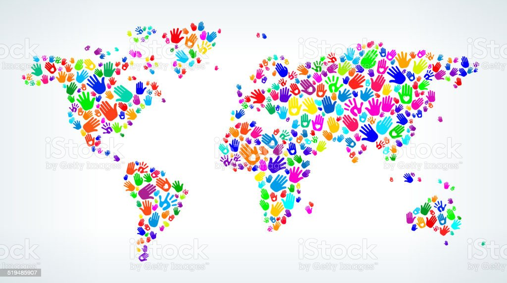 World Map On Hands.World Map On Hands Pattern White Background Stock Vector Art More