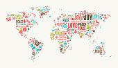 World Map on Holiday Christmas White Background