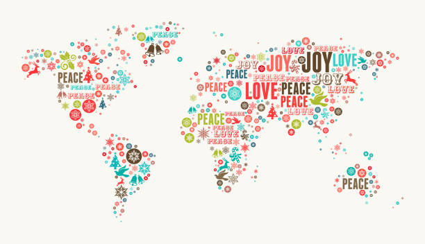 World Map on Holiday Christmas White Background vector art illustration