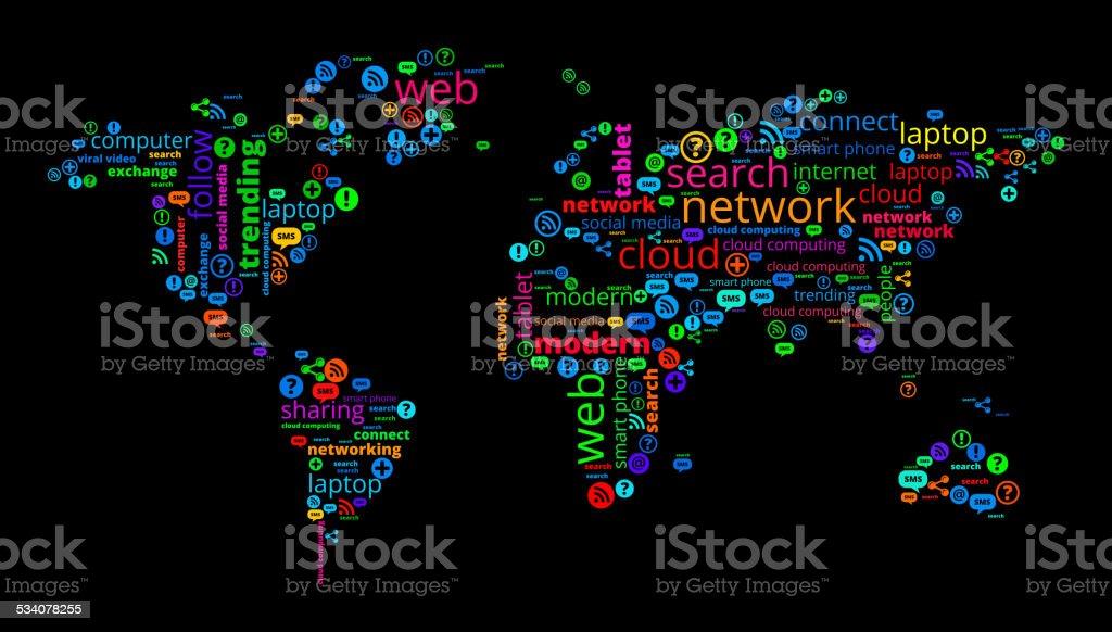 World map on modern communication and technology word cloud stock world map on modern communication and technology word cloud royalty free world map on modern gumiabroncs Choice Image