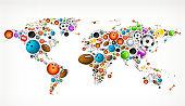 World Map on Sport Balls