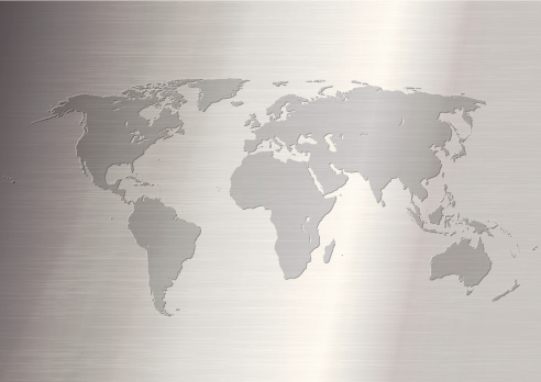World Map on Stainless steel