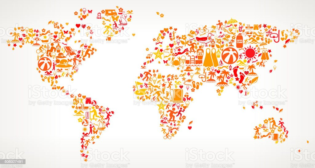 World Map on Summer royalty free vector art Pattern royalty-free stock vector art