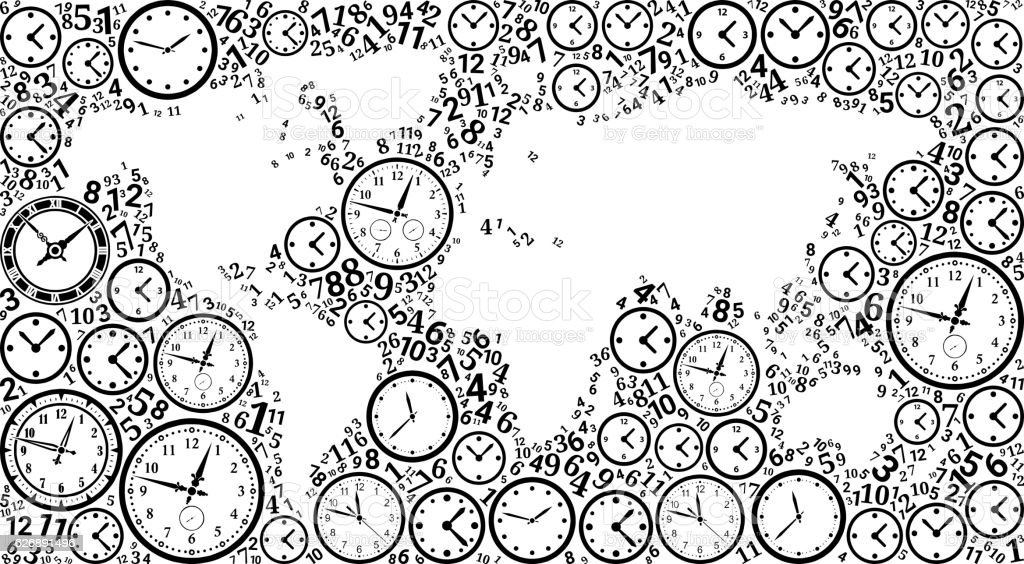 World Map On Time And Clock Vector Icon Pattern Stock Vektor Art und ...