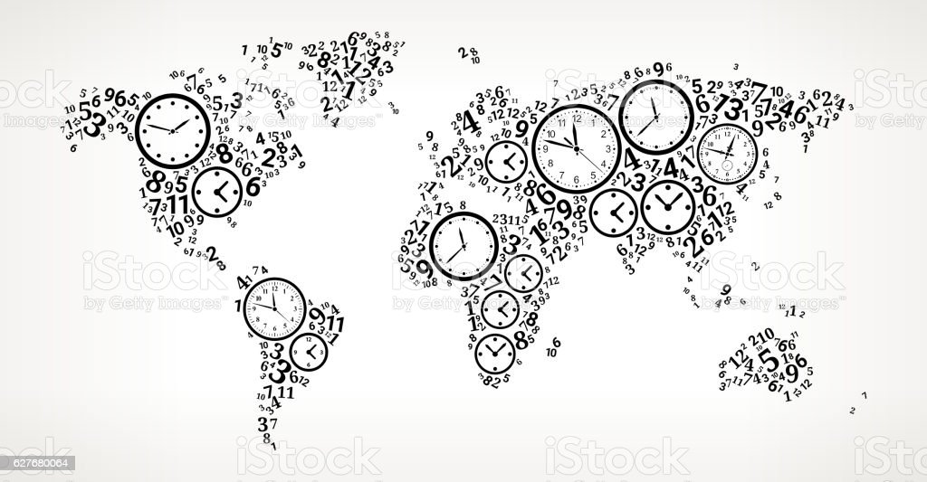 World map on time and clock vector icon pattern stock vector art world map on time and clock vector icon pattern royalty free world map on time gumiabroncs Choice Image