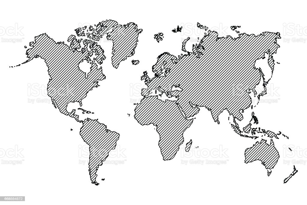 World Map Outline And Oblique Line Stock Illustration ...