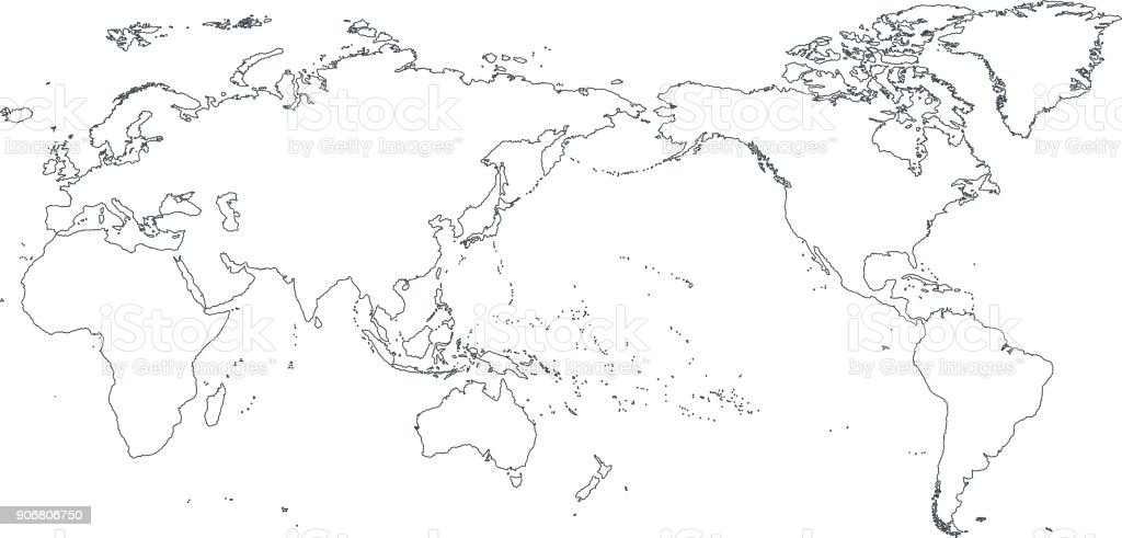 world map outline contour silhouette asia in center stock vector art
