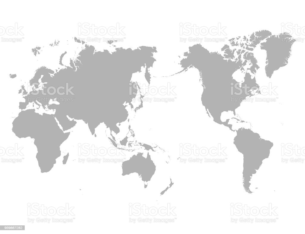 World Map Outline Contour Silhouette Asia In Center Stock Vector Art ...