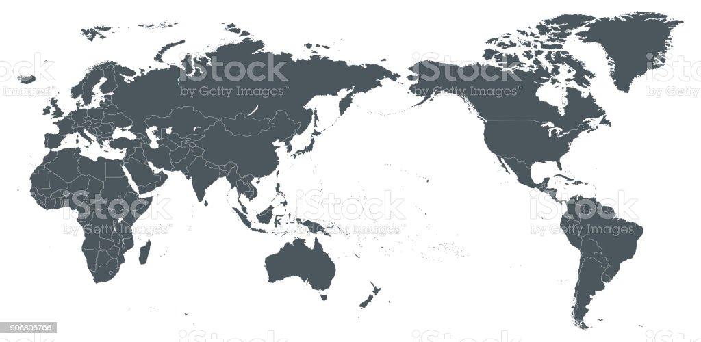 World Map Outline Contour Silhouette Borders - Asia in Center vector art illustration