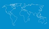 World map outline graphic freehand drawing on blue background. Vector illustration