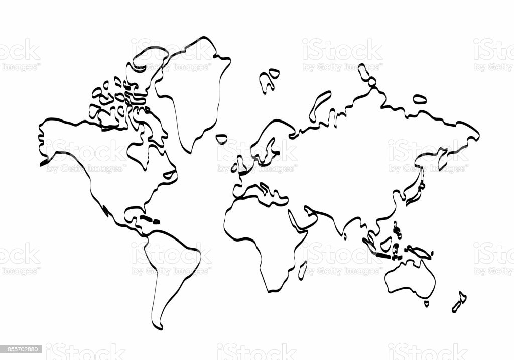 World map outline graphic freehand drawing on white background world map outline graphic freehand drawing on white background vector of asia europe gumiabroncs Choice Image