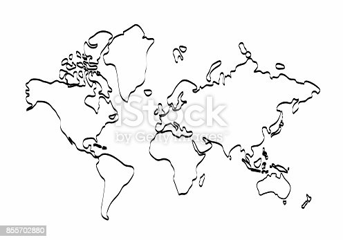 World map outline graphic freehand drawing on white background world map outline graphic freehand drawing on white background vector of asia europe north south america australia and africa stock vector art more images gumiabroncs Choice Image