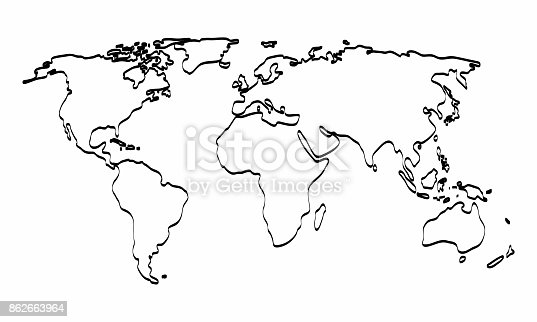 World map outline graphic freehand drawing on white background world map outline graphic freehand drawing on white background vector illustration stock vector art more images of africa 862663964 istock gumiabroncs Choice Image