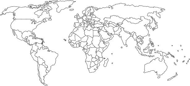 World Map Outline Stock Illustration - Download Image Now