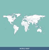 World map outline vector with countries borders