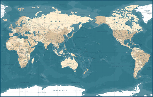 World Map - Pacific View - Asia China Center - Political Topographic - Vector Detailed Illustration