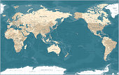 istock World Map - Pacific View - Asia China Center - Political Topographic - Vector Detailed Illustration 1220641513