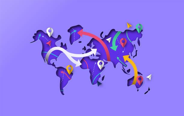 mapa świata papercut gps travel arrow koncepcji - podróżowanie stock illustrations