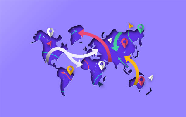 World map papercut gps travel arrow concept Papercut world map with modern gps pointer icon and paper arrows. Colorful 3d cutout illustration for navigation app or international travel concept. country geographic area stock illustrations