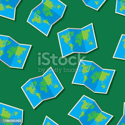 Vector illustration of world maps in a repeating pattern against a dark green background.