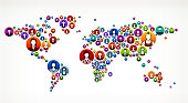 World Map People Faces Community and Communication Pattern. These colorful buttons feature portraits of man and women and are ideal for ethnic diversity and community and unity designs. The vector buttons are flat with one face avatar portrait per button. Icon download includes vector graphic and jpg file.